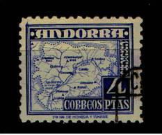 ANDORRA 1948.TIPOS DIVERSOS.EDIFIL Nº 56. 4 PTAS.AZUL USADO,CATALOGO MARCA 9 EUROS.SES060 - Andorre Espagnol