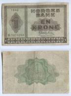 NORWAY - 1 Krone, 1942., Norges Bank, WW2 - Noorwegen