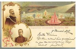 Carte Illustrée 1 Exposition Universelle De Bruxelles 1897 Oblitérée Bruxelles Départ à Destination De Leiden - Ganzsachen
