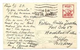 BRAZIL METER Postcard / AK / CPA  RIO DE JANEIRO 1929 To NORWAY. - Rio De Janeiro