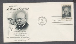 United States FDC Fleetwood 1965  Honoring Churchill Statesman Soldier Man Of Eloquence Wit Humor Courage - Sir Winston Churchill
