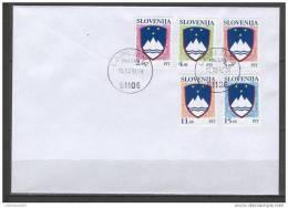 Slovenia Slovenie Slowenien 1991 Mi. 13-17  Coat Of Arms  FDC - Slowenien