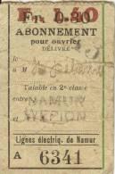 ABONNEMENT POUR OUVRIER  - LIGNES ELECTRIQUES DE NAMUR (En 2e Classe Entre Namur Et Wépion) - Season Ticket