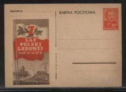 POLAND 1951 7TH ANNIV OF POLISH PEOPLE´S REPUBLIC PRESIDENT BIERUT MINT PC Tractor Electricity Industry Farming Flag - Elektrizität