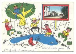 Castelculier (47) : Vue D'une Rue Principale Et Illustration De Pêcheurs Autour D'un étang De Grandfondsen 1963(animée) - France