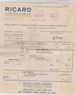FACTURE RICARD A PARIS EN 1954 !! - Francia