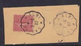 FRANCE N°129  10C ROSE CACHET AMBULANT CASTRES A ALBI DU 2.6.1907 SUR FRAGMENT - Gebruikt