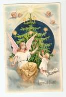 """CPA Fantaisie : """" Joyeux Noël"""" : Ange, Angelots Dans Le Ciel, Etoiles, Enfant Décorant Un Sapin , Bougies ... - Natale"""