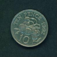 GUERNSEY  - 1992  10 Pence  Circulated As Scan - Guernsey