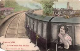 Cpa 1907  (14.7) Souvenir D'ALBI, Une Jeune Femme à La Portière D'un Train Vous Sourit - Souvenir De...