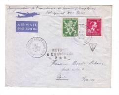 Aérodrome De Namur Temploux Belgique Vol Spécial Paris Retour Envoyeur 1947 - Belgium