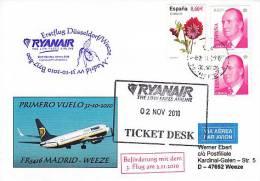 Erstflugpost - Ryanair - Madrid - Düsseldorf / Weeze - 31.10.2010   [dy96] - Luftpost