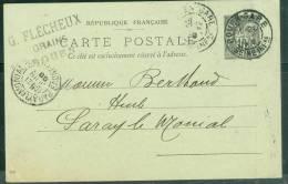 """Entier 10 Cent Type  Sage Oblitéré """"Rouen Gare , Seine Inf   ) En 1899 -  Am5009 - 1877-1920: Période Semi Moderne"""