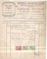 Quaregnon - 1933 - Ursmar Plumat - Imprimerie-lithographie-reliure - Fournitures De Bureaux - Printing & Stationeries