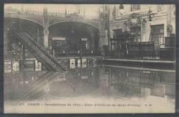 75 - PARIS 7 - Inondations De 1910 - Gare D'Orléans Du Quai D'Orsay - CM 54 - Stations, Underground