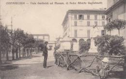 CIVITAVECCHIA - VIALE GARIBALDI CON IL MON. DI PADRE ALBERTO GUGLIELMOTTI VG 1914 BELLA FOTO ORIGINALE 100% - Civitavecchia
