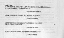 """""""BRAINE-L´ALLEUD Et Son Histoire"""" Fascicule N°18 - Ed. Ass. Du Musée De D B-L´A. (1987)  Table Des Matières : Voir Image - Culture"""