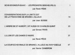 """""""BRAINE-L´ALLEUD Et Son Histoire"""" Fascicule N°19 - Ed. Ass. Du Musée De D B-L´A. (1987)  Table Des Matières : Voir Image - Culture"""