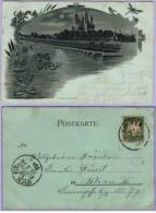 Vintage Card Gruss Aus Speyer Um 1899 Mondscheinkarte (441) - Speyer