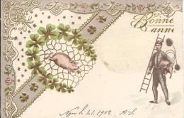 5830 - Bonne Année   Ramoneur Porte Bonheur Carte En Relief - Nouvel An