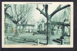 Carte D' Albias  La Place ( état Moyen )( Recto Verso ) - Albias