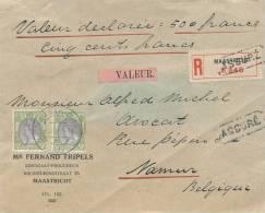 188/20 - Lettre Assurée Pays-Bas MAASTRICHT à LIEGE 1921 - Etiquette NL VALEUR Et Griffe Belge ASSURE - 1891-1948 (Wilhelmine)