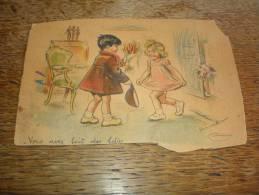 Carte Postale Ancienne Découpée Signé Germaine Bouret : Vous Avez Fait Des Folies - Bouret, Germaine