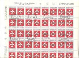 SMOM - Foglio Completo Usato (40 F.bolli): Segnatasse - Croce Di Malta Soprastampati  1/2 Scudo - 1975 - Malte (Ordre De)