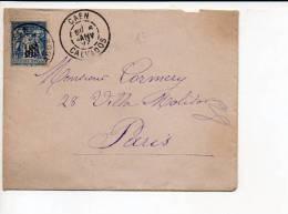 """1897 - De  Caen 14 CAD """"Daguin Jumelé """" A2 Sur Sage N° 90 Pour Paris  / Dos CAD Arrivée - 1877-1920: Période Semi Moderne"""