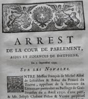DOCUMENT 1752 LOUIS XV PRIEURÉ LE TOUVET ISÈRE DAUPHINÉ ABBÉ DE LESCALDIEU GRÉSIVAUDAN RELIGION NOVALES GRENOBLE - Historische Dokumente