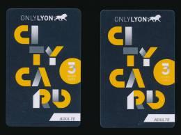 Carte Touristique : 2 CITY CARD , Only Lyon, Accés Aux Musées, Lieux Touristiques... - Other Collections