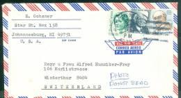 Sur Lettre Affranchie  Pour La Suisse , Oblitération  Johannesburg  En 1981- Bb12529 - Stati Uniti