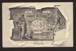 CARTOLINA DEL 1904 CON BANCONOTA DA  20 FRANCS - BELGIE BELGIQUE - Monete (rappresentazioni)