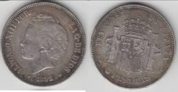 ****  SPAIN - ESPAGNE - 5 PESETAS 1892 ALFONSO XIII - SILVER -ARGENT **** EN ACHAT IMMEDIAT !!! - [ 1] …-1931 : Royaume