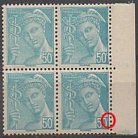 """1942 Y&T 549 BLOC DE 4 BDF Avec Variété """"c"""" De 50c CASSé N** - Curiosities: 1941-44 Mint/hinged"""