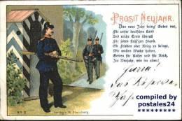 Wf38158 Neujahr Vers Gedicht Soldaten Gewehr - New Year