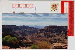 Grand Canyon Colorado,China 2011 Earth Conservation Organization Advertising Pre-stamped Card - Geography