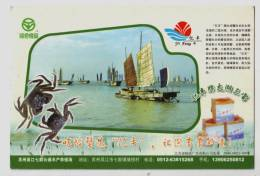 Yifeng Brand Taihu Lake Fresh Water Chinese Mitten Crab,sailing Boat,CN 06 Wujiang Aquiculture Farm Pre-stamped Card - Ferme