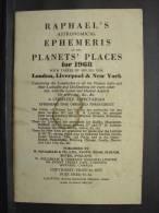 Liv106. Raphael's Ephemeris Of The Planets Places For 1968. - Esotérisme