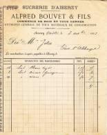 FACTURE Sucrerie D´Aiserey, Commerce De Bois En Tous Genres, Alfred Bouvet Et Fils, Aiserey, 1893 - Francia