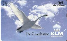 F-271M  TARJETA DE AUSTRIA DE UN CISNE VOLANDO  KLM   106 UNITS TIRADA 660 DUMMY  (BIRD-PAJARO-AVION-PLANE) - Autriche