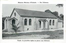 Oceanie- Ref 55- Mission Mariste D Oceanie- Iles Salomon- Visale , La Premiere Eglise En Pierre  -  Carte Bon Etat  - - Solomon Islands