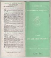 PLAQUETTE - LIGNE D´EXTRÊME ORIENT - COMPAGNIE DES MESSAGERIES MARITIMES - TARIFS ET CONDITIONS DE PASSAGE JANVIER 1962 - Monde