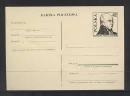 POLAND (3 JULY) 1965 STANISLAW STASZIC PRE-PRINTED POST CARD (POSTAL STATIONERY) MINT WRITER AUTHOR GEOLOGIST PRIEST - Géologie