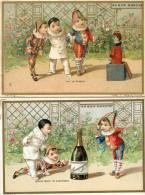 5 Chromos Publicitaires, Le Bon Marché, Le Champagne Avec Pierrot, Arlequin Et Polichinelle - Chromos