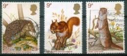 Großbritannien  1977  Einheimische Wildtiere  (3 Gest. (used))  Mi: 745, 746, 748 (0,90 EUR) - 1952-.... (Elizabeth II)