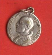 Medaille Religieuse Ancienne 16 Mm Metal Argent Double Face Pius Pie Pape XII  Max Anno Santo Annee Sainte Et Eveque - Godsdienst & Esoterisme