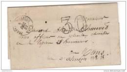 Fresnay-s- Sarthe (71)  1857 , Taxe Doubles Traits à 30 Cts....texte Direction Générale Des Domaines... - Marcophilie (Lettres)