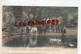 03 -   ROUTE DE  MALAVAUX - ENVIRONS DE VICHY  -  PASSAGE D´ UN GUE - BEL ATTELAGE COLORISE
