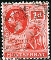 MONSERRAT, COLONIA INGLESE, BRITISH COLONY, RE GIORGIO V, 1916,  USATO, Mi 42a,   Scott 44 - Montserrat
